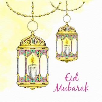 Hand gezeichnete glückliche eid mubarak goldene laterne