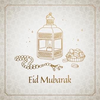 Hand gezeichnete glückliche eid mubarak traditionelle objekte