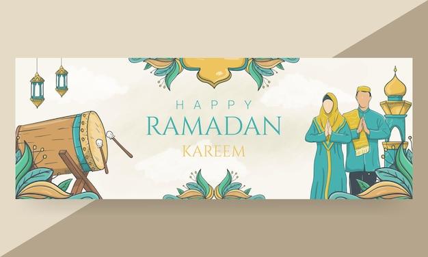 Hand gezeichnete glückliche ramadan kareem kopfzeile
