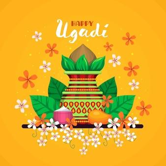 Hand gezeichnete glückliche ugadi illustration
