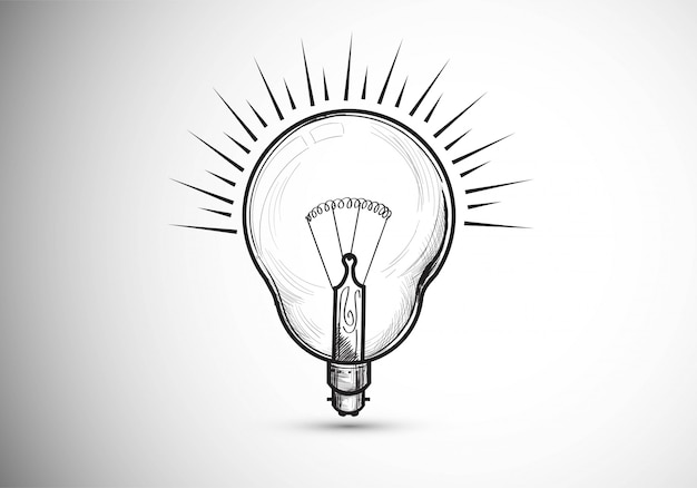 Hand gezeichnete glühbirnen skizzieren design