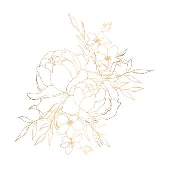 Hand gezeichnete goldene blumenillustration mit pfingstrosen