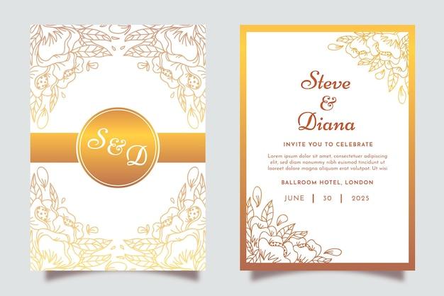 Hand gezeichnete goldene hochzeitseinladungsschablone