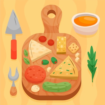 Hand gezeichnete gourmet-snack-käseplatte auf schneidebrett