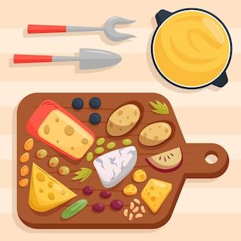 Hand gezeichnete gourmet-snack-käseplatte Kostenlosen Vektoren