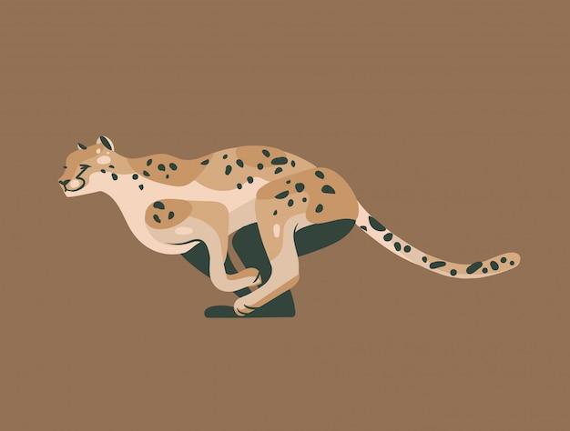 Hand gezeichnete grafikillustration mit afrikanischem wildem laufenden gepardenkarikaturtierentwurf lokalisiert
