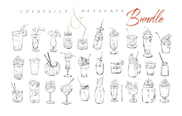 Hand gezeichnete grafische strukturierte künstlerische barmenü-tinten-sammlungssatz