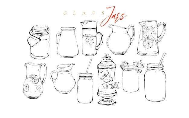 Hand gezeichnete grafische strukturierte künstlerische barmenü-tintenkollektionssatzskizze