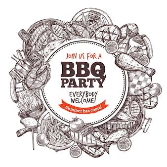 Hand gezeichnete gravurskizze des barbecue.