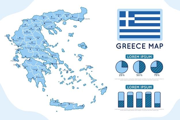 Hand gezeichnete griechenlandkarte infografik