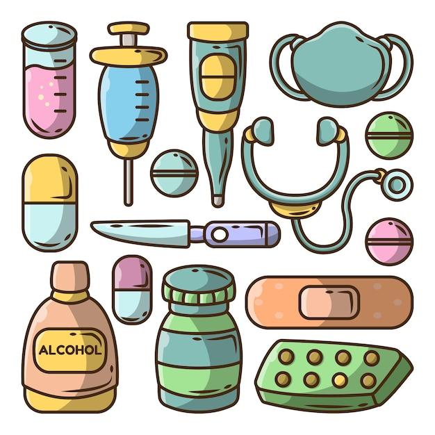 Hand gezeichnete große sammlung des karikaturgekritzels der medizinischen werkzeuge