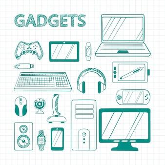 Hand gezeichnete grüne stift elektronische gadgets gesetzt. skizzen von geräten der computertechnologie