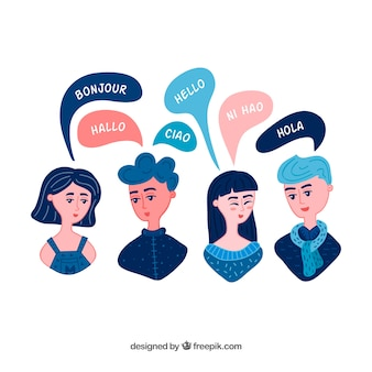 Hand gezeichnete gruppe von personen, die verschiedene sprachen spricht