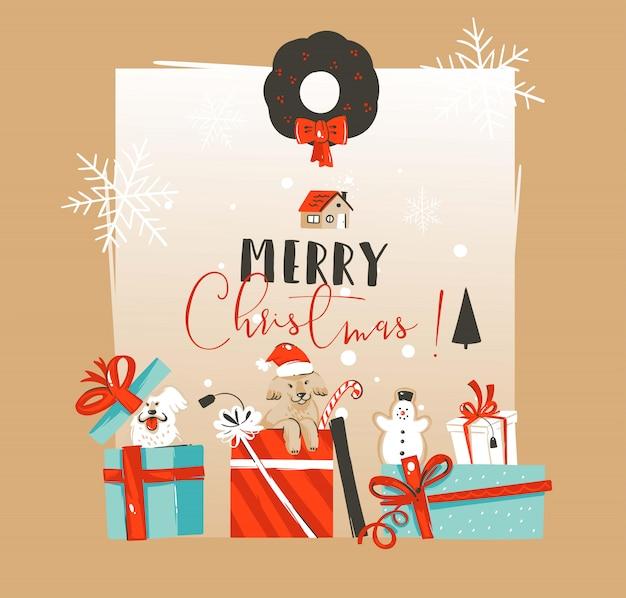 Hand gezeichnete grußkartenschablone der frohen weihnachten und des guten rutsch ins neue jahrwein-weinleseillustrationen mit haustierhunden in überraschungsgeschenkbox auf weißem hintergrund
