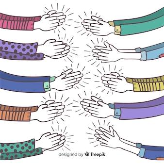 Hand gezeichnete hände, die hintergrund applaudieren