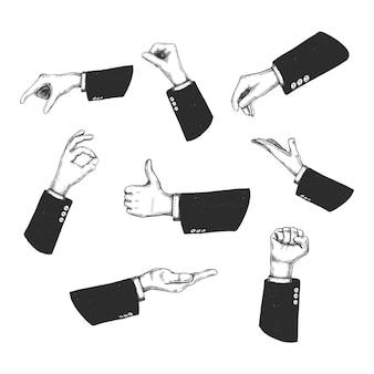 Hand gezeichnete hände, gesten des mannes in schwarzer jacke. auf weißem hintergrund isoliert. symbolillustration.
