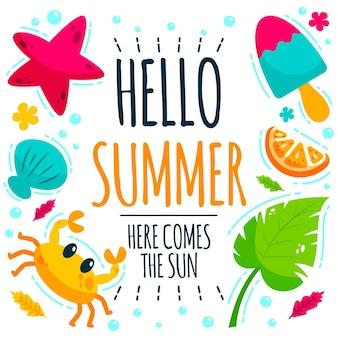Hand gezeichnete hallo sommer tapete