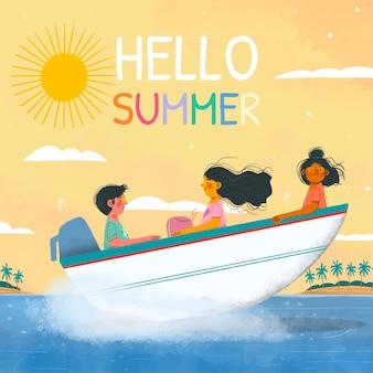 Hand gezeichnete hallo sommerillustration