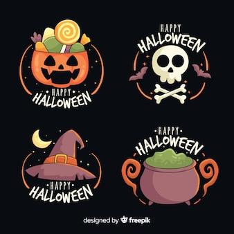 Hand gezeichnete halloween-aufklebersammlung