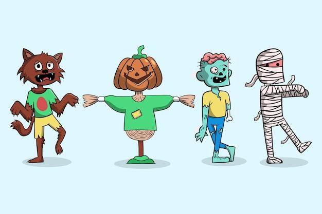 Hand gezeichnete halloween-charaktersammlung