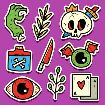 Hand gezeichnete halloween-doodle-aufkleber design