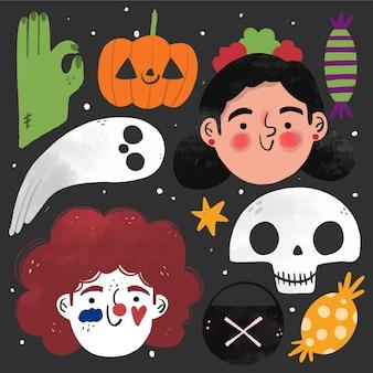 Hand gezeichnete halloween-element-sammlung