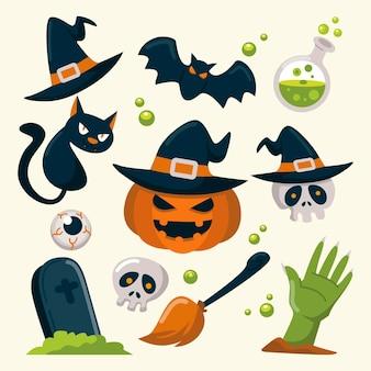 Hand gezeichnete halloween-elemente gesetzt