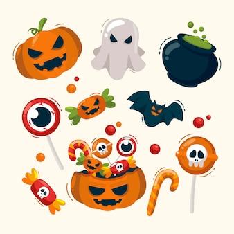 Hand gezeichnete halloween-elemente packen