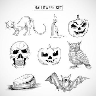 Hand gezeichnete halloween-elemente setzen skizzenentwurf