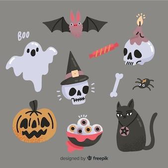 Hand gezeichnete halloween-elementsammlung auf grauem hintergrund