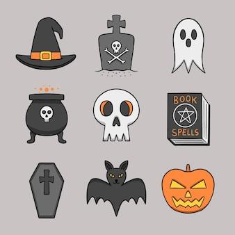 Hand gezeichnete halloween-elementsammlung