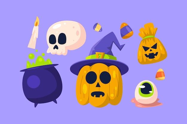 Hand gezeichnete halloween-elementsammlung Kostenlosen Vektoren
