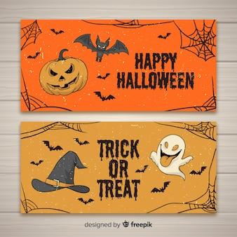 Hand gezeichnete halloween-fahnen