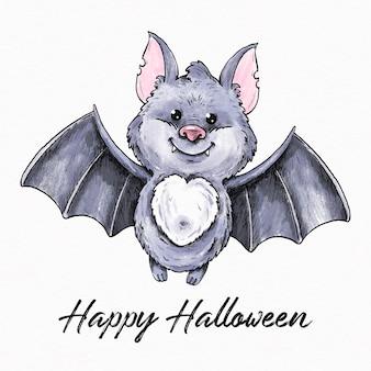 Hand gezeichnete halloween-fledermaus