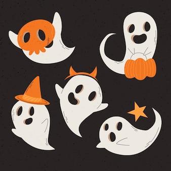 Hand gezeichnete halloween-geistersammlung