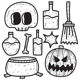 Hand gezeichnete halloween-gekritzel-entwurfsillustration