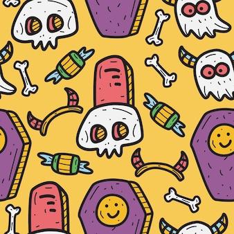 Hand gezeichnete halloween gekritzel muster design illustration