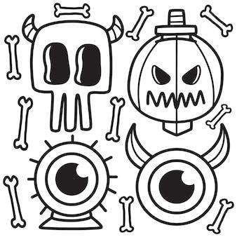 Hand gezeichnete halloween-gekritzelillustration