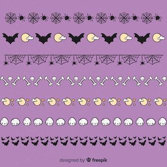 Hand gezeichnete halloween-grenze mit spinnennetzen und den knochen