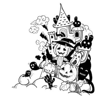 Hand gezeichnete halloween-illustration