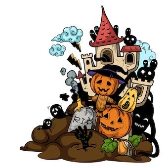Hand gezeichnete halloween-illustration.