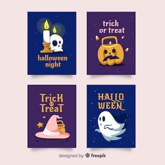 Hand gezeichnete halloween-kartensammlung