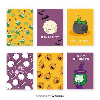 Hand gezeichnete halloween-kartenschablonensammlung