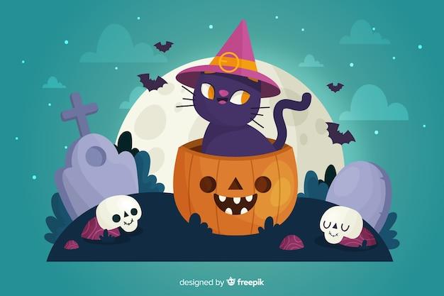 Hand gezeichnete halloween-katze mit hexenhut