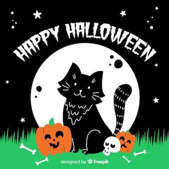 Hand gezeichnete halloween-katze mit mitteilung