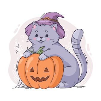 Hand gezeichnete halloween-katzenillustration