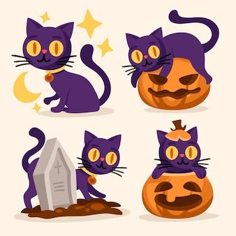 Hand gezeichnete halloween-katzensammlung