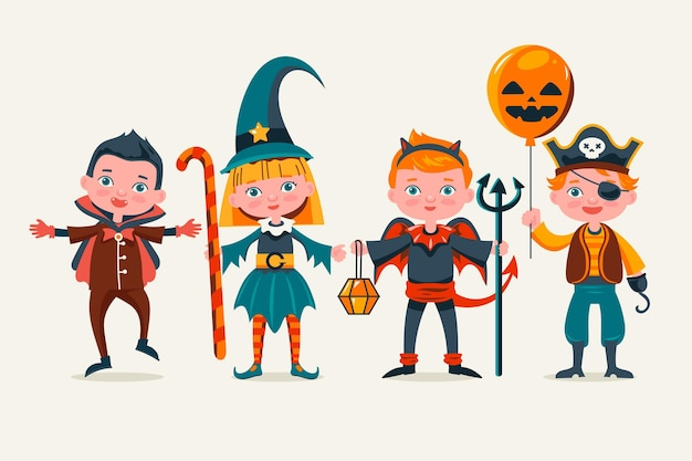 Hand gezeichnete halloween-kinderkollektion