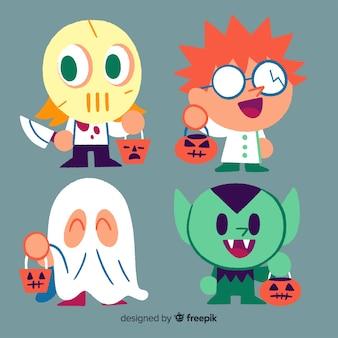 Hand gezeichnete halloween-kindersammlung mit kostümen