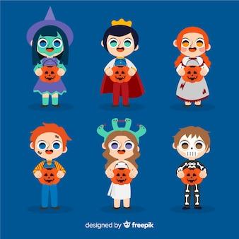 Hand gezeichnete halloween-kindersammlung